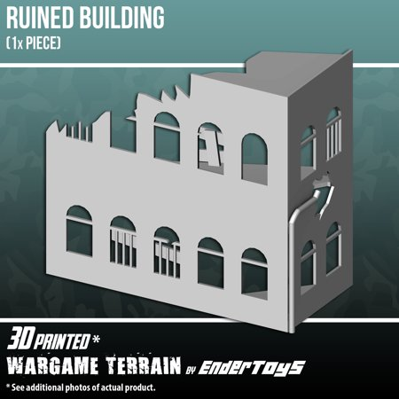 Ruined Building, Terrain Scenery for Tabletop 28mm Miniatures Wargame, 3D Printed and Paintable,