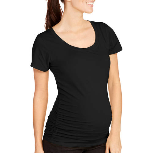 Oh! Mamma Maternity Short Sleeve Tee with Flattering Side Ruching-- Available Plus Size