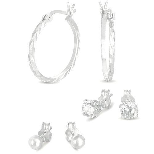 CZ Sterling Silver Stud and Hoop Earrings Set