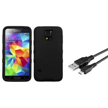 Insten Rubberized Black/Black TUFF Hybrid Hard Shockproof Case For SAMSUNG Galaxy S5 (Bundle with USB Cable) (samsung galaxy s5 hybrid case)