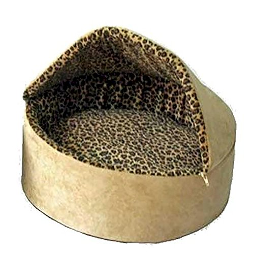Deluxe Leopard Thermo Kitty Bed - Small/Tan