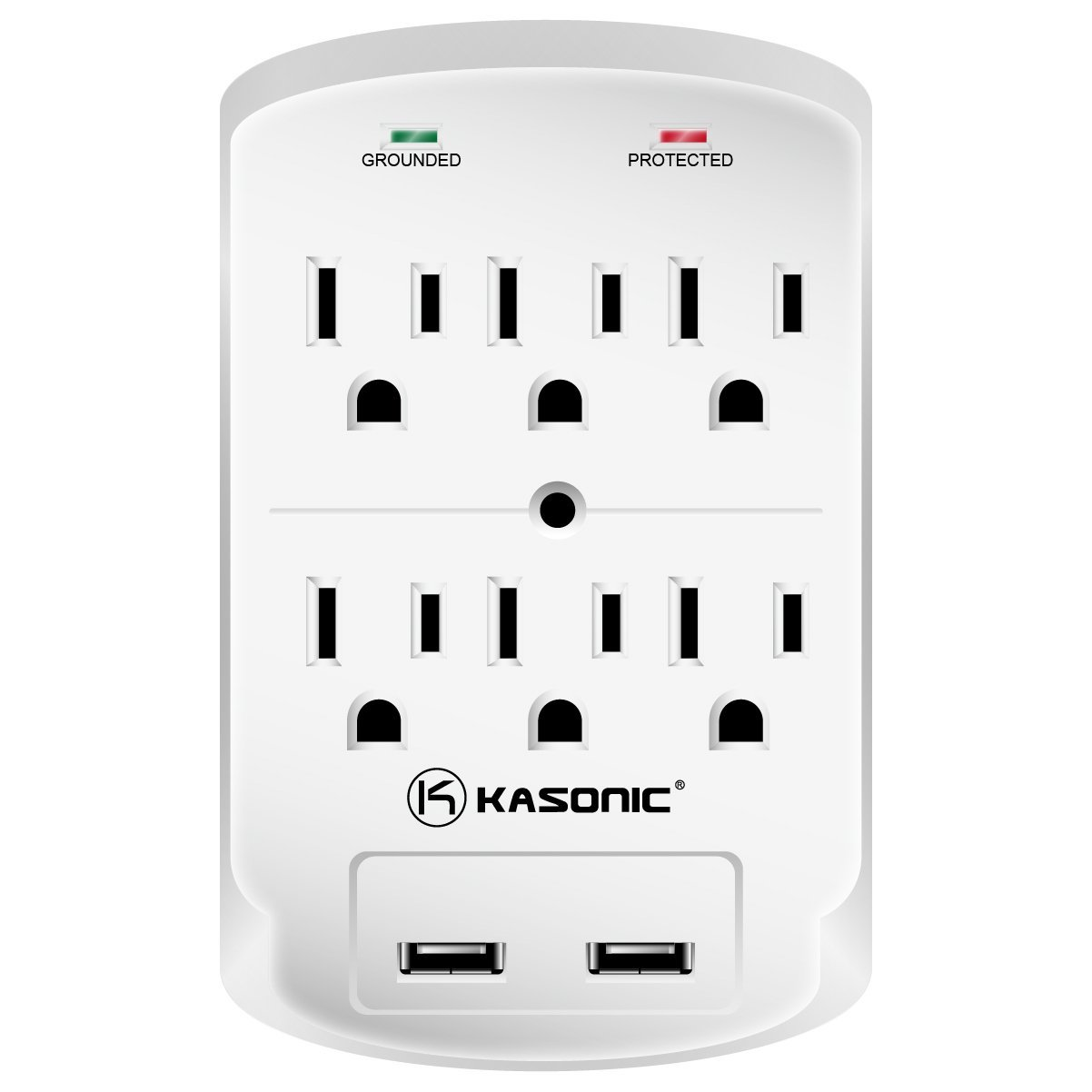 Kasonic Wall-Mount Power Outlet, 6 AC Socket Surge Protector with 2.1Amp Dual USB Charging Station; Grounding and Protection Indicator; (ETL Certified) for Home, Office (1 Pack)
