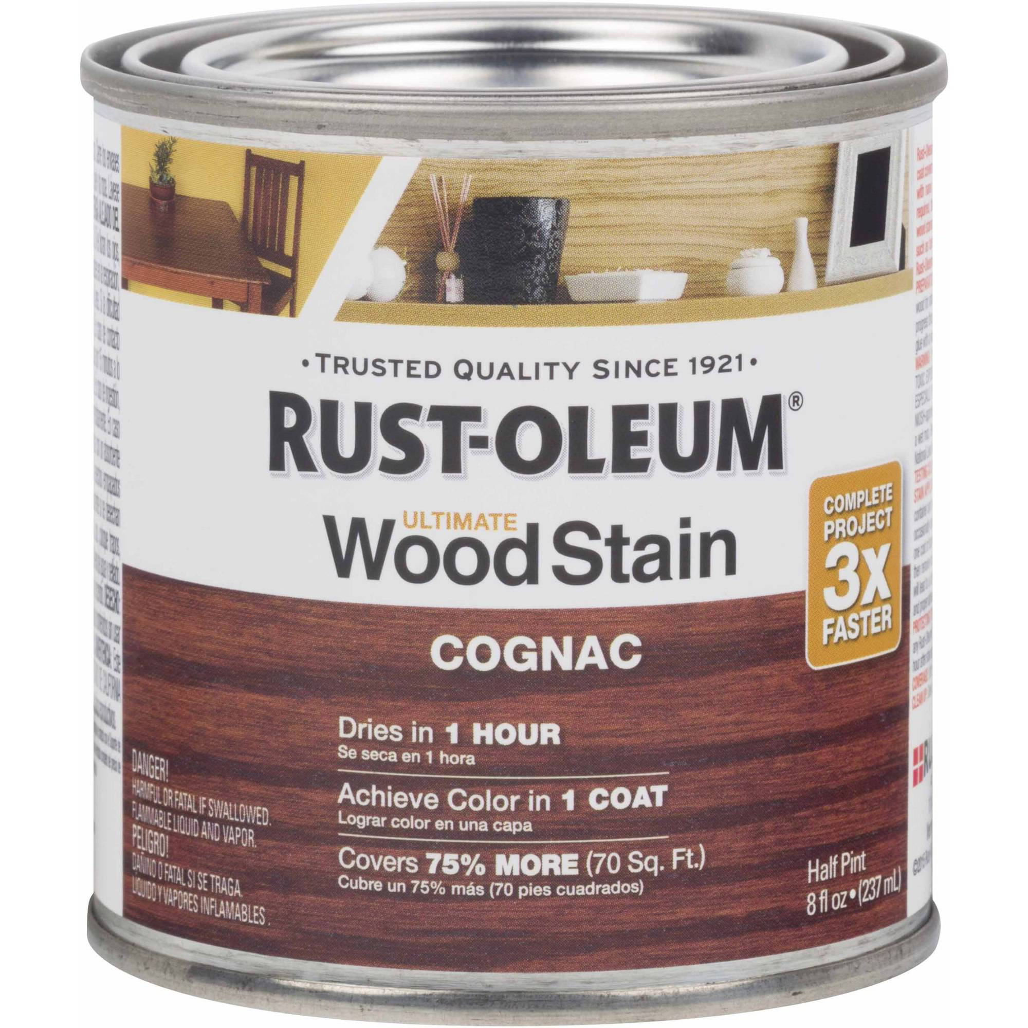 Rust-Oleum Ultimate Wood Stain Half-Pint, Cognac