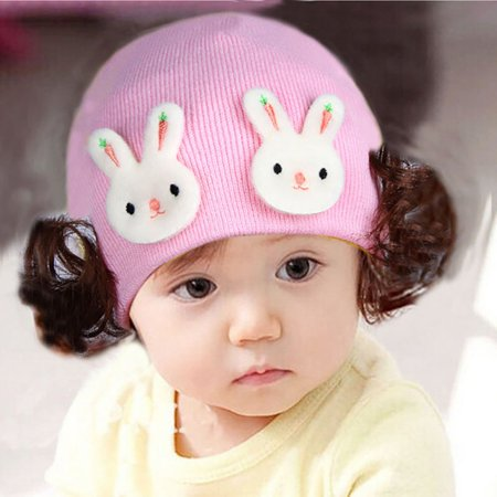Kids Wig Hat Female Child Hat Kids Warm Kids Line Woven Cotton Plush Cap - image 4 of 4