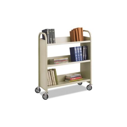 Steel Slant Shelf Book Cart, Three Shelves, 36w x 14-1/2d x 43-1/2h, Sand
