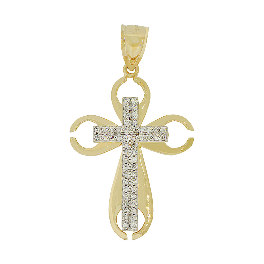 14k Yellow Gold, Fancy Cross Pendant Charm Created CZ Crystals