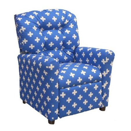furniture 4 button back child recliner swiss cross cobalt walmart