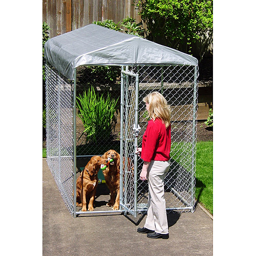 Lucky Dog Yard Guard Boxed Dog Kennel with cover, 5'x10'x6'