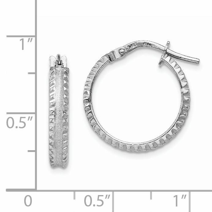 14K White Gold Polished/Satin Ridged Edge Concave Hoop Earrings - image 1 de 4