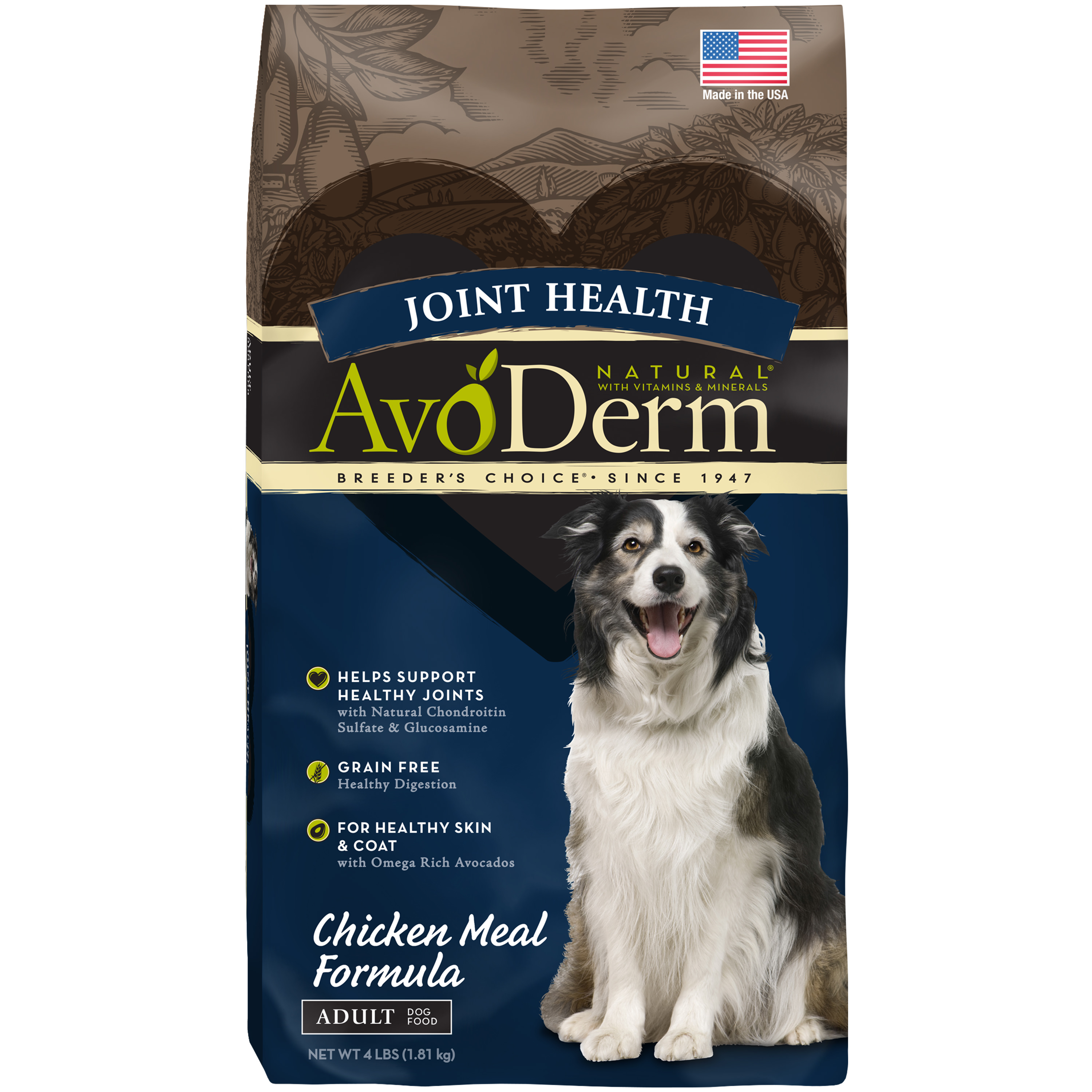 AvoDerm Joint Health Grain Free Chicken Meal Dry Dog Food 4LB