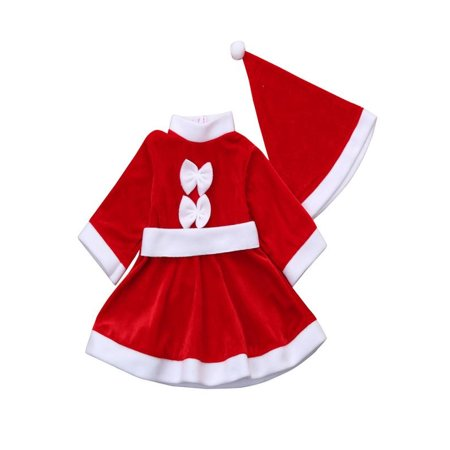 Iuhan Toddler Kid Baby Girl Christmas Clothes Costume Bowknot Party Dresses+Hat Outfit - Children Christmas Clothing