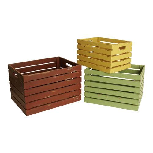 WaldImports 3 Piece Crate Set in Assorted Colors