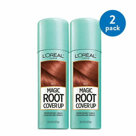 (2 Pack) L'Oreal Paris Hair Color Root Cover Up Temporary Gray Concealer Spray, Red, 2 - Temporary Spray Hair Color