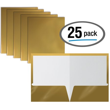 2 Pocket Glossy Laminated METALLIC GOLD Paper Folders, Letter Size, Metallic GOLD Paper Portfolios by Better Office Products, Box of 25 Metallic Gold Folders
