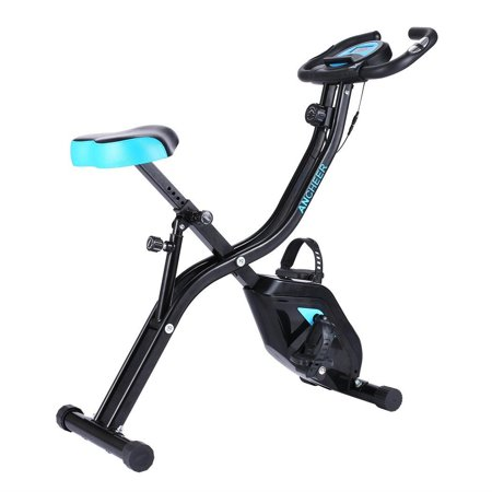 ANCHEE R APP Version Folding Upright Exercise Bike Indoor Cycling Bike with Heart Pulse Sensors 10 Levels Magnetic Resistance