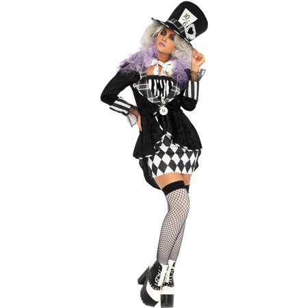 Leg Avenue Womens 3 PC Wonderland Mad Hatter Costume - Mad Hatter Woman Costume