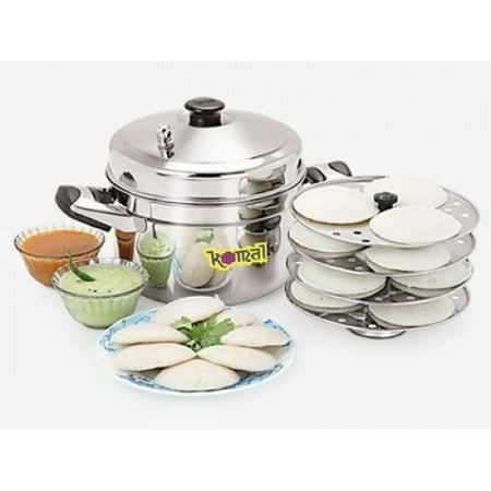 Tabakh HIC-204 4-Rack Stainless Steel Idli Cooker w/Hawkins Type Stand, Makes 12 Idlis ()