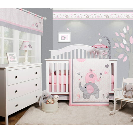 OptimaBaby Pink Grey Elephant 6 Piece Baby Girl Nursery Crib Bedding Set