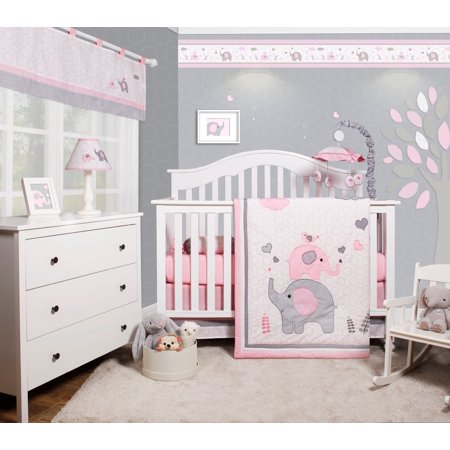 optimababy pink grey elephant 6 piece baby girl nursery crib bedding set. Black Bedroom Furniture Sets. Home Design Ideas