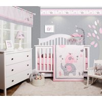 Product Image Optimababy Pink Grey Elephant 6 Piece Baby Nursery Crib Bedding Set