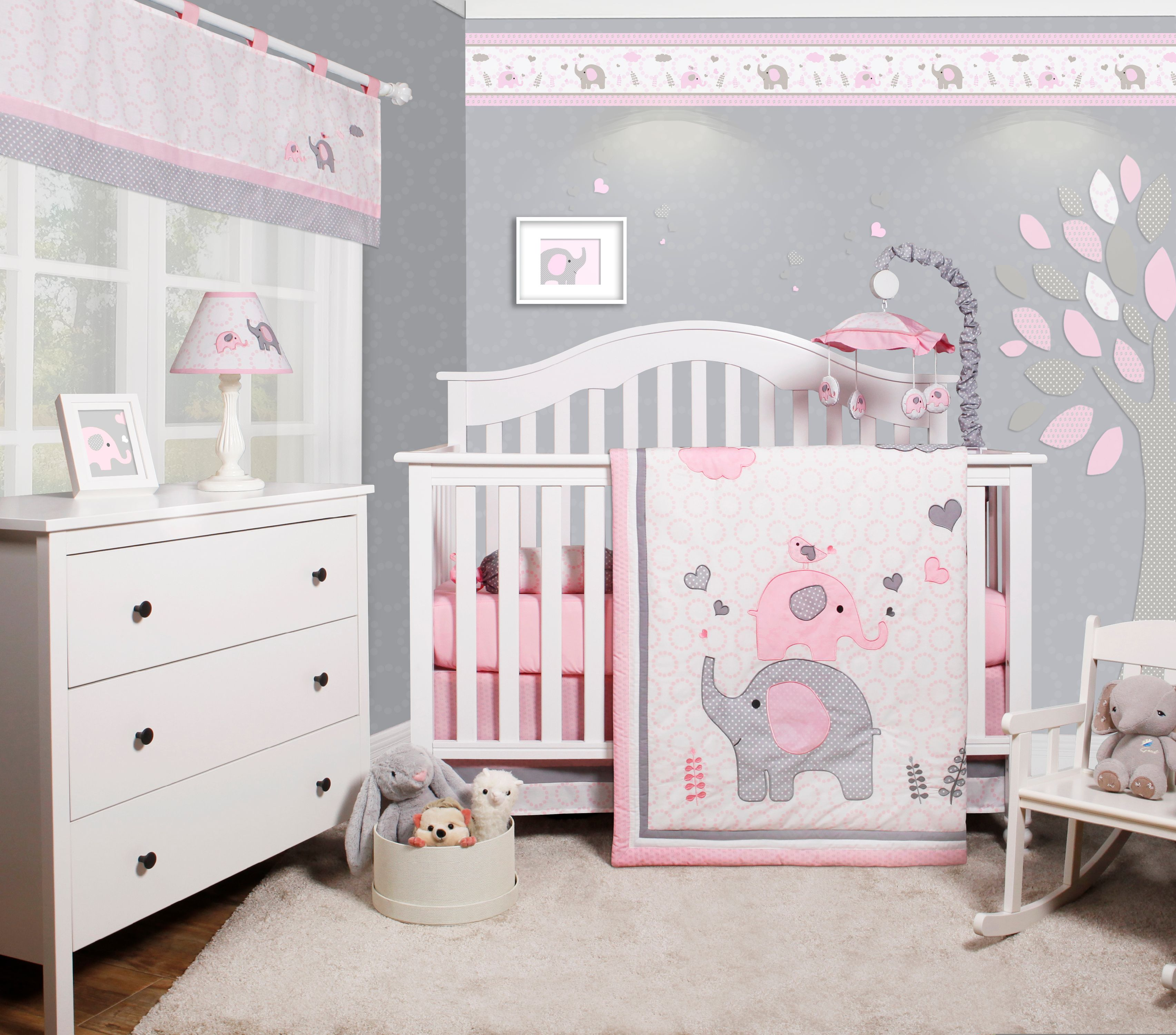 Baby Girl Nursery Themes Product Image OptimaBaby Pink Grey Elephant 6 Piece Baby Girl Nursery Crib  Bedding Set