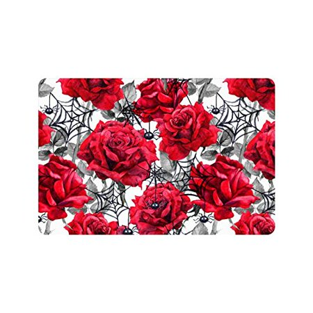 MKHERT Watercolor Halloween Decoration Roses Black Spiders and Web Doormat Rug Home Decor Floor Mat Bath Mat 23.6x15.7 inch