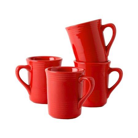 Tuxton Home Concentrix Gala Mug  Set Of 4   8 Oz  Cayenne Red