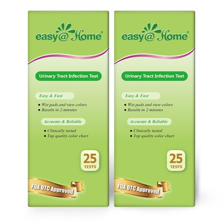 Easy@Home Urinary Tract Infection UTI Test Strips, Monitor Bladder by Testing Urine, 50 tests-25 per Bottle-FDA Approved for Over the Counter/OTC USE, Urinalysis detects Leukocytes, Nitrite (Amniotic Fluid Test Strips Over The Counter)