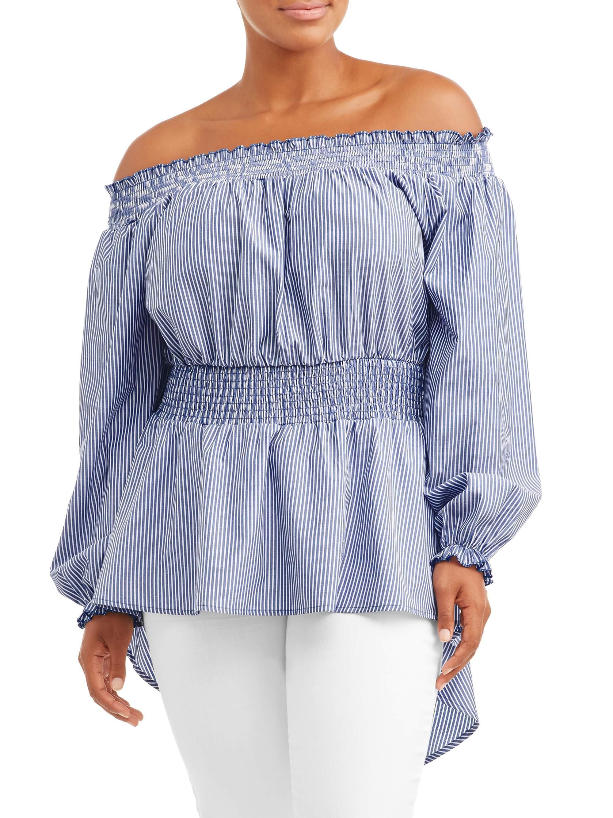 Women's Plus Size Striped Peasant Top Blouse