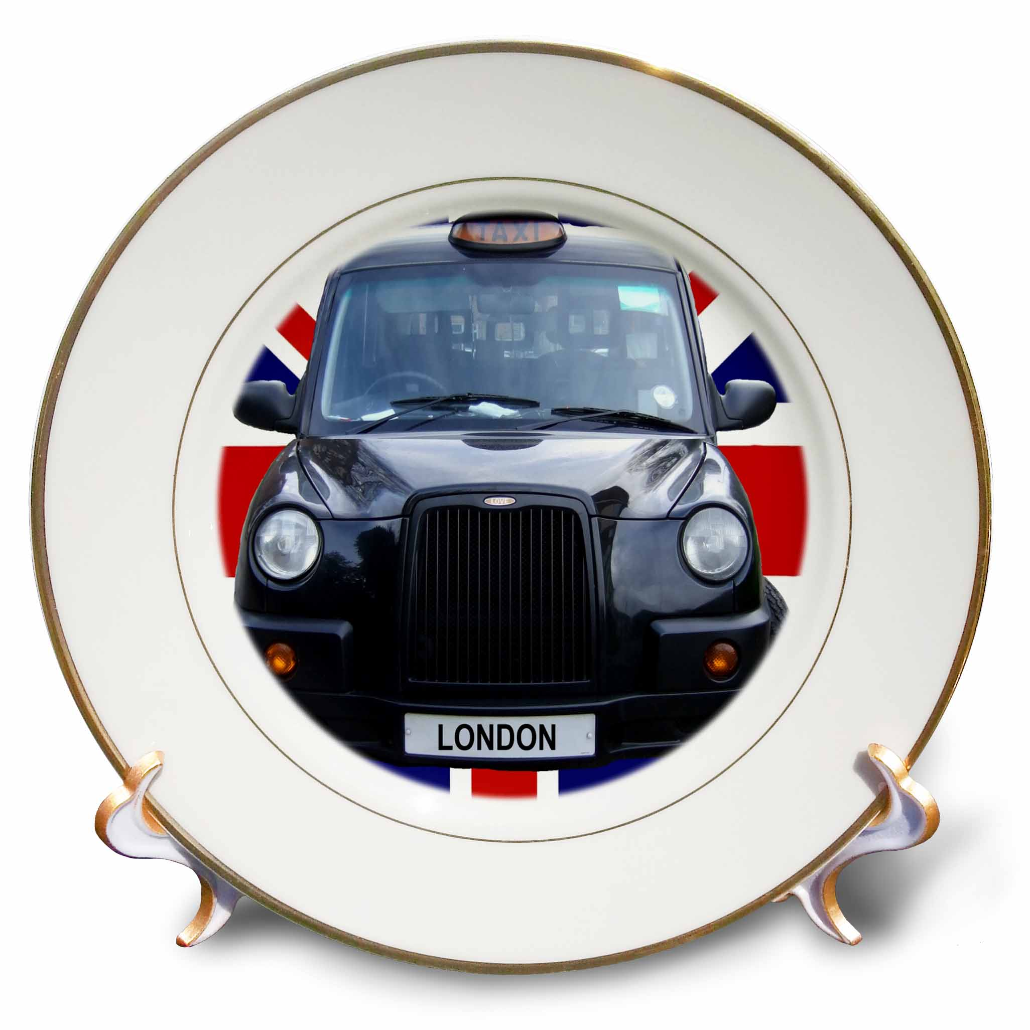 3dRose London Black Taxi Cab on British Flag union Jack background - UK Great Britain United Kingdom Travel, Porcelain Plate, 8-inch