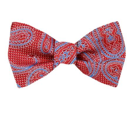 Mens Silk Pattern Dot Paisley Designer Self Tie Bow - Dot Silk Tie