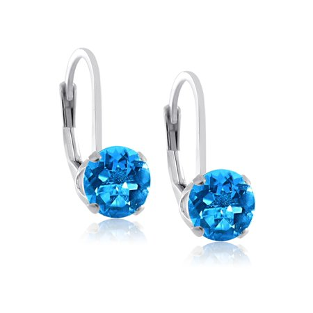 Rhodium Plated Sterling Silver 5mm Brilliant Round Genuine Swiss Blue Topaz Lever Back Dangling (Polished Genuine Swiss)