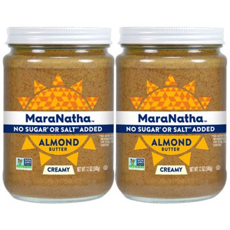 - (2 Pack) MaraNatha No Sugar or Salt Added Creamy Almond Butter, 12 oz