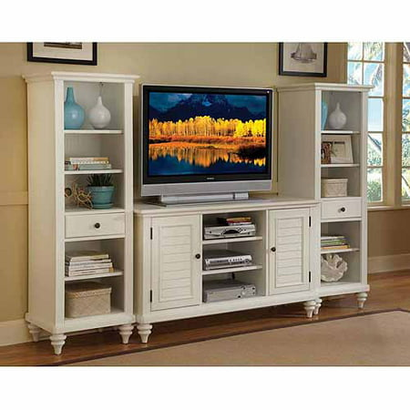 Home Styles Bermuda Brushed White 3 Piece Entertainment Center