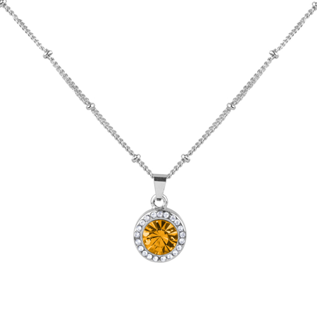 Lux Accessories Topaz Citrine November Birthstone Pendant Disc Pave Charm Pendant Necklace Birthday Stone