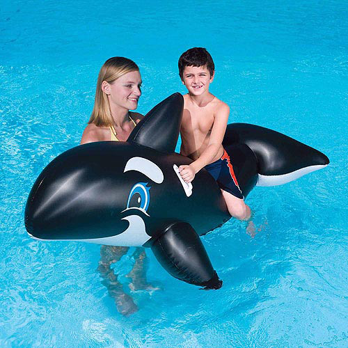 "Splash and Play Jumbo Whale 80"" Inflatable Ride-On Pool Toy"