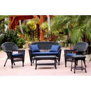 5-Piece Black Resin Wicker Patio Chair, Loveseat & Table Furniture Set Blue Cushions by CC Outdoor Living