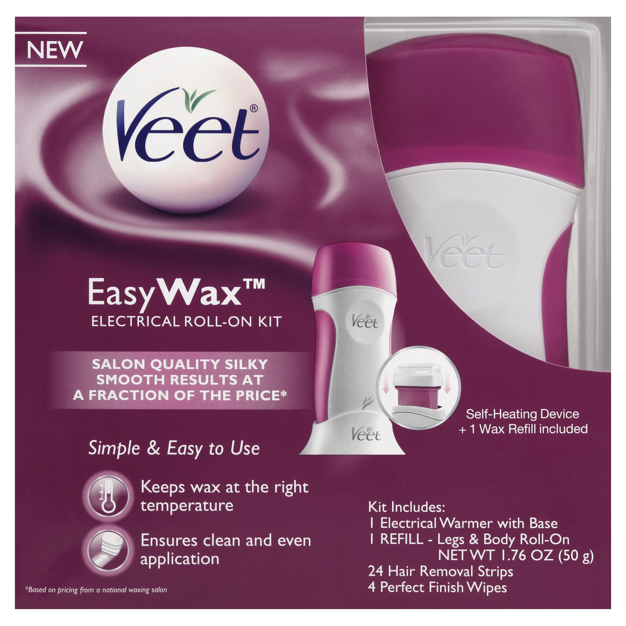 Veet Easy Wax Roll On Hair Remover Wax Kit 1 Count Walmart Com Walmart Com