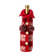 """11"""" Alpine Chic Red, Black and Cream Snowflake Nordic Design Knit Christmas Wine Bottle Cover"""