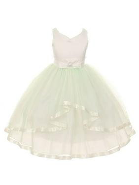 Little Girls Mint V-neck Satin Bow 3 Layer Tulle Flower Girl Dress 2-6