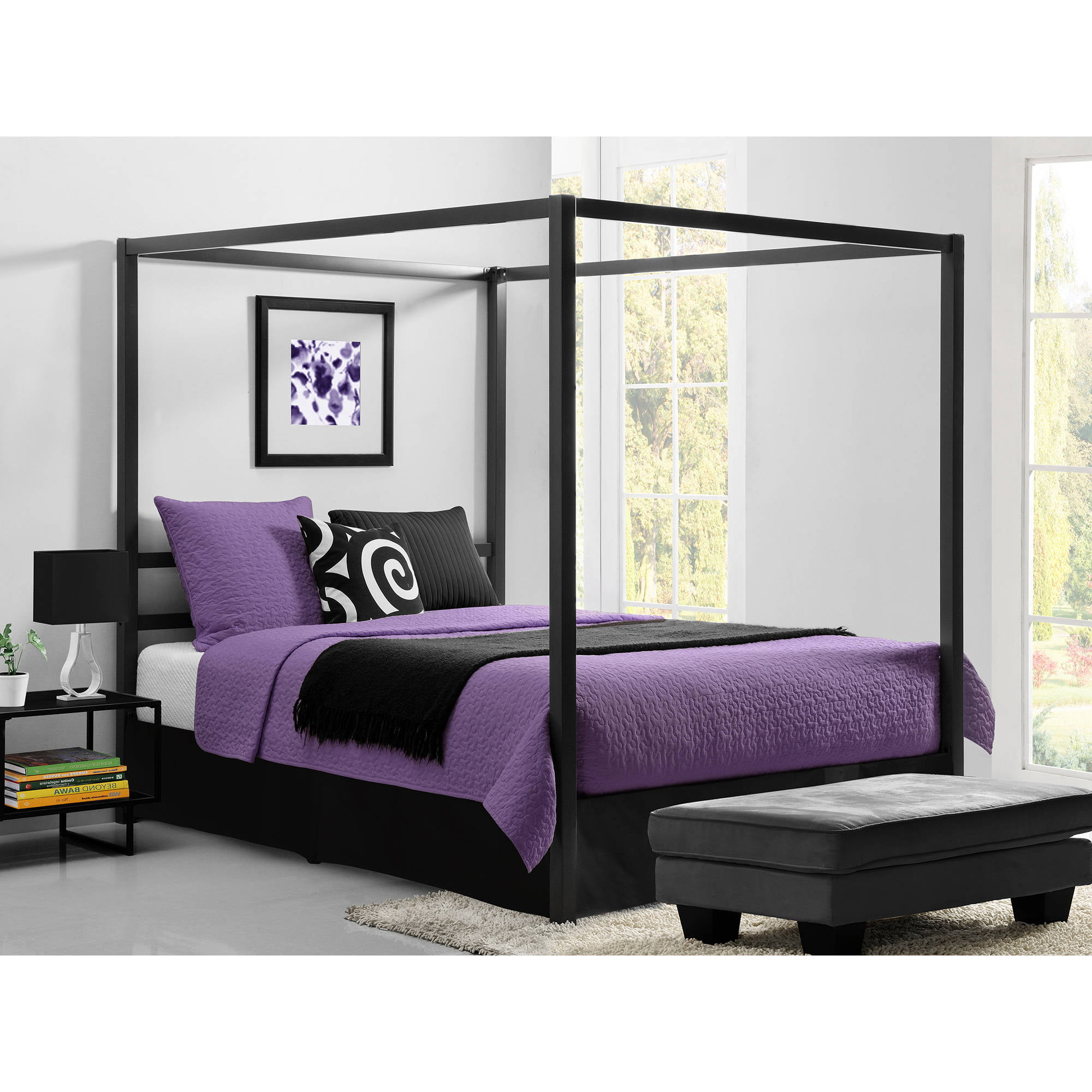 DHP Soho Modern Canopy Bed, White Metal with Black Linen, Queen (Box 2 of  2) - Walmart.com