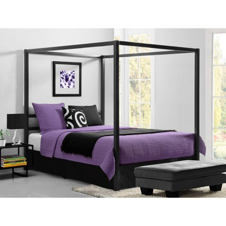 dorel modern canopy queen metal bed multiple colors - Modern Metal Bed Frame