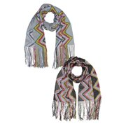 Multicolor Chevron Pattern Print Scarf 2-Pack With Fringe