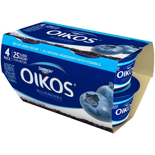 Oikos Blueberry Greek Nonfat Yogurt, 5.3 oz, 4 ct