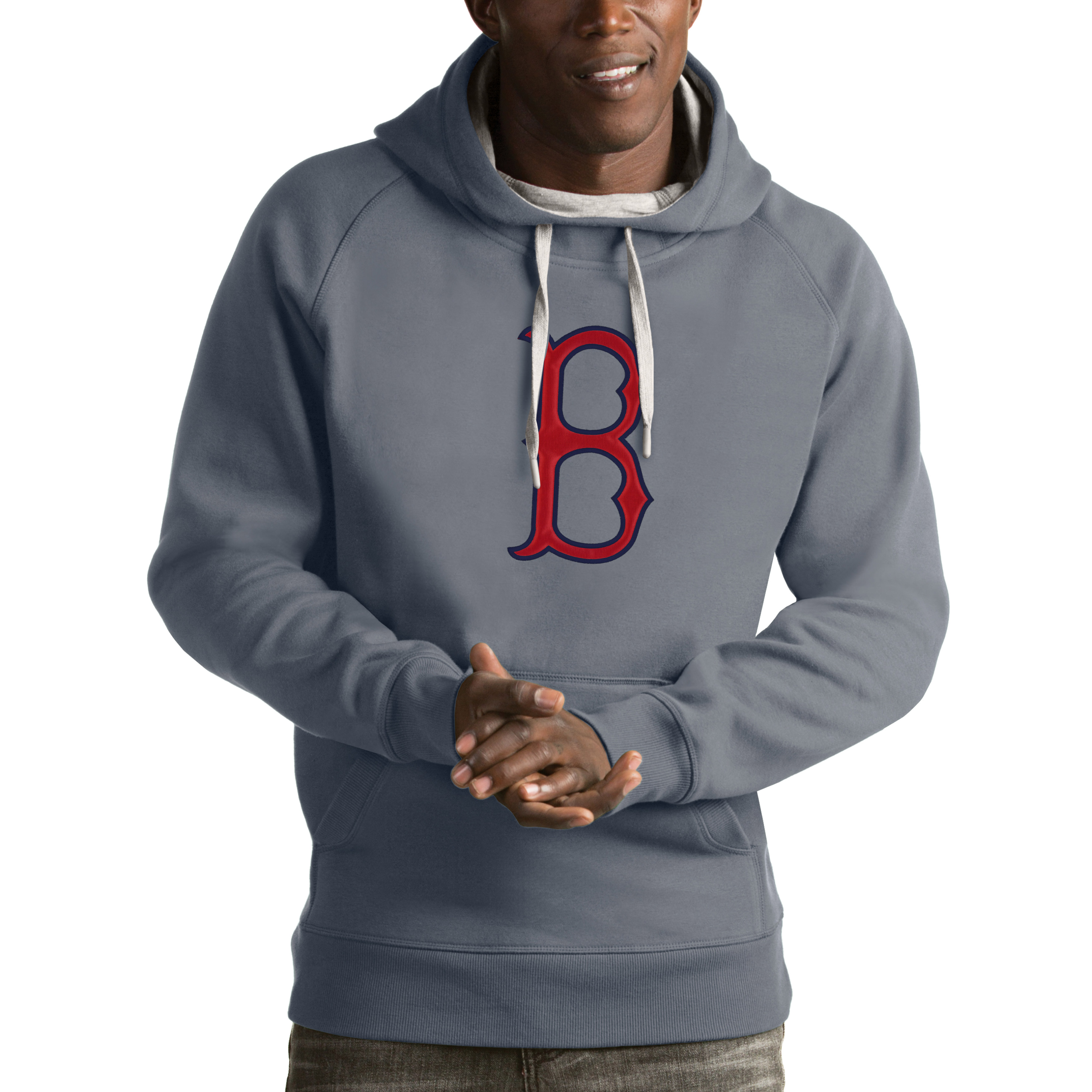 Boston Red Sox Antigua Victory Pullover Hoodie - Heathered Gray