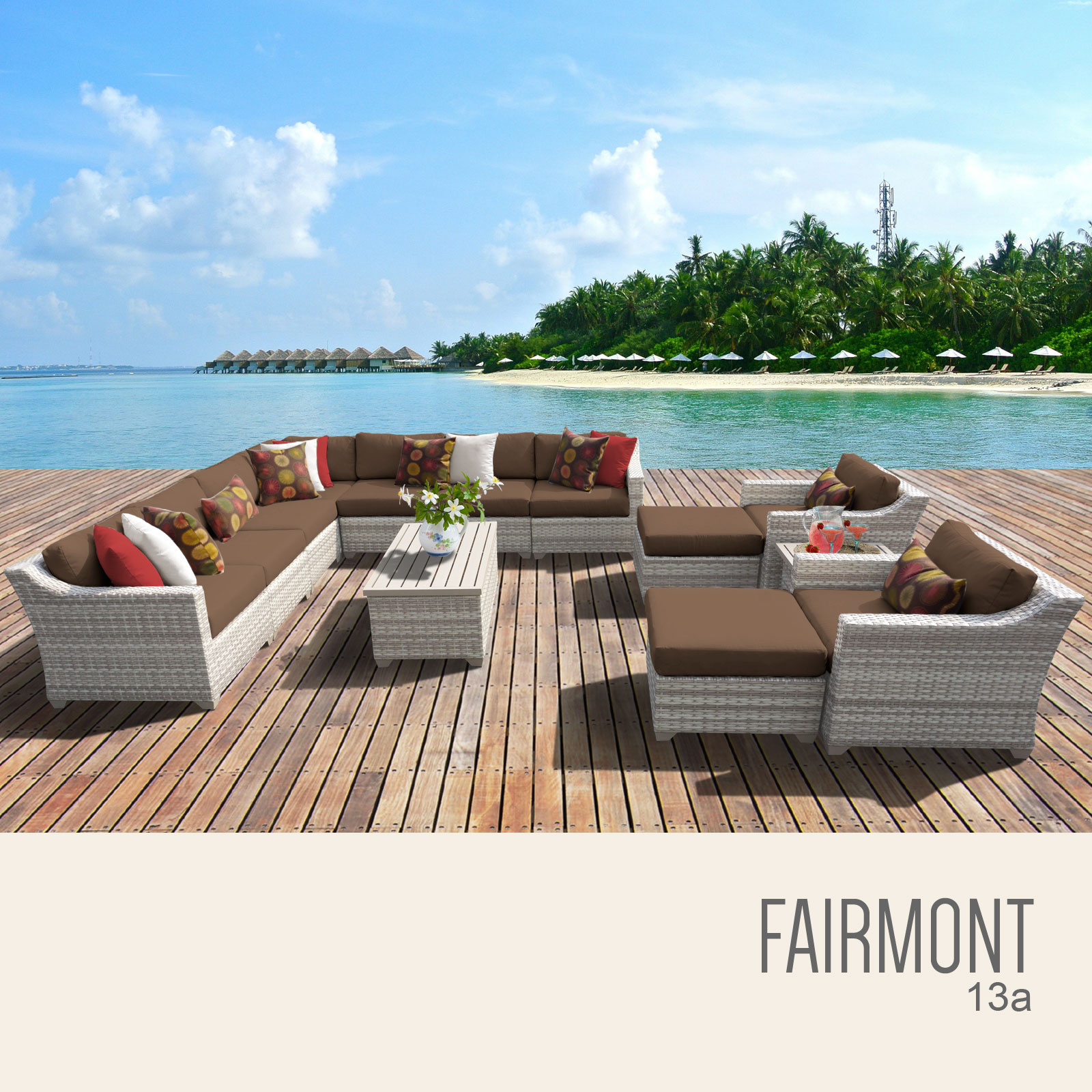 Fairmont 13 Piece Outdoor Wicker Patio Furniture Set 13a by TK Classics