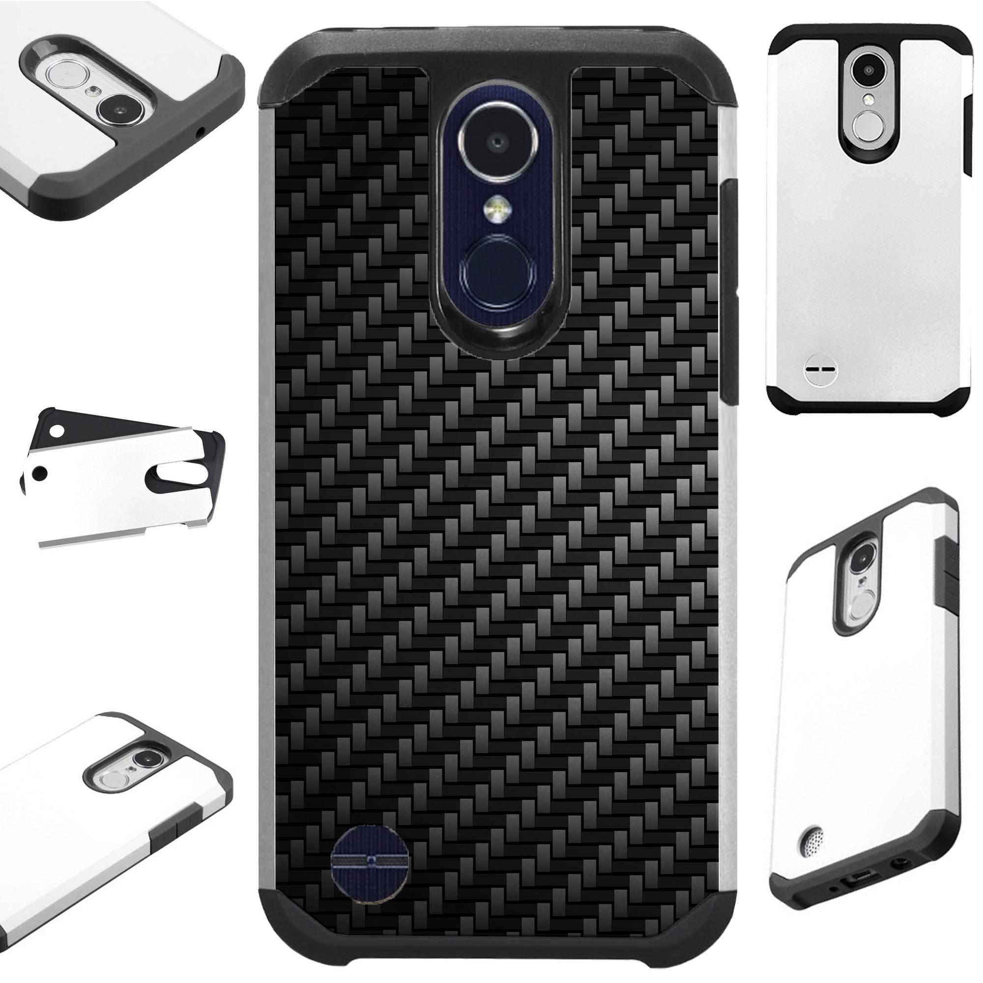 For LG Rebel 4 | LG Rebel 3 Case Hybrid TPU Fusion Phone Cover (Black Carbon Fiber Print)