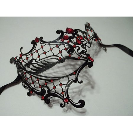 Black Red Rhinestone Phantom Laser Cut Venetian Masquerade Metal Filigree Mask](Masquerade Masks Red)
