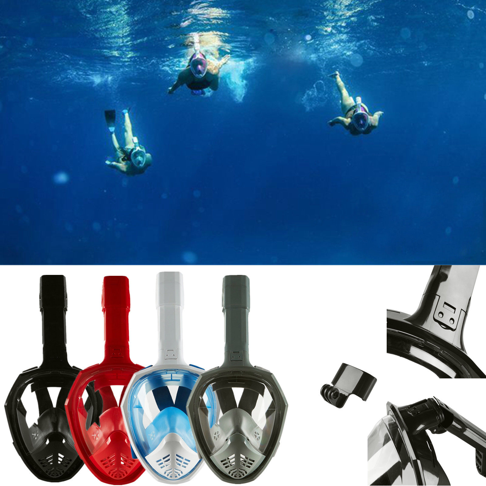 Anti-Fog Swimming Diving Full Face Mask Surface Snorkel Scuba for GoPro S M by