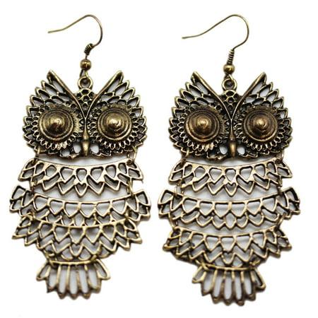 - Spiral Gold Tone Eye Wire Owl Earrings (2 Earrings)